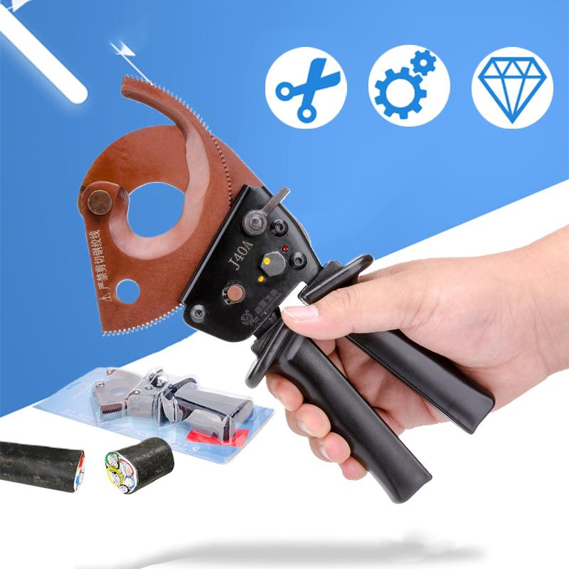 hs 500b forging blade ratchet cable cutter for cutting 400mm2 copper aluminum cables sharp and quick cable cutter Manganese Steel Ratchet Cable Cutter Wire Cutting Hand Tool For Cutting Max 300mm²