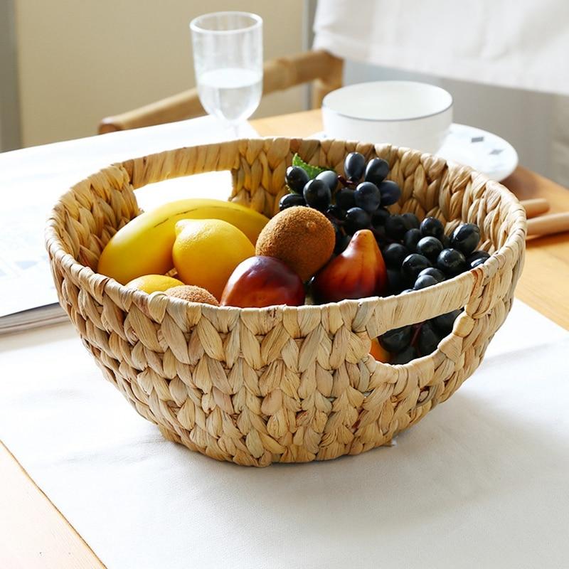 Natural Straw-Weaved Disk Fruit Storage Basket Snack Melon Seed Tray Table Sundry Basket Fruit Basket Desktop Storage Tray