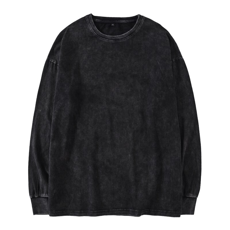 Kanye West de gran tamaño de manga larga Camiseta hombres hip hop pesado lavado camisetas para hombres O cuello Top Camisetas Hombre manga larga Streetwear
