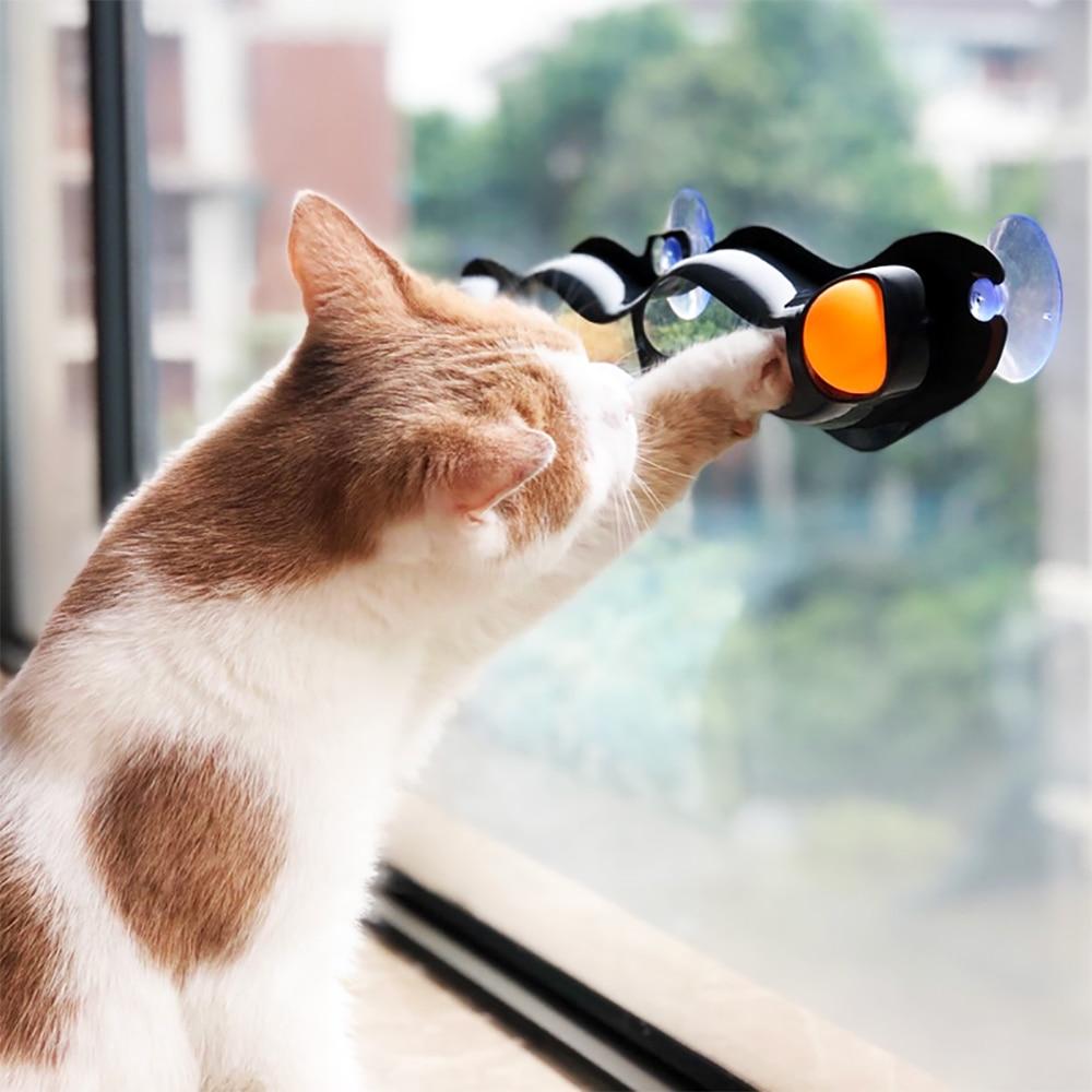 Juguetes para perros, accesorios para mascotas, ventana, tenis de mesa, adsorción, pista de vidrio, pelota juguete para gato, ventosa de plástico, nuevos juguetes educativos divertidos para gatos