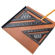 90도 미터법 속도 광장 알루미늄 합금 7/12 인치 삼각형 눈금자 측정 각도기 Scriber 나무 마킹 도구