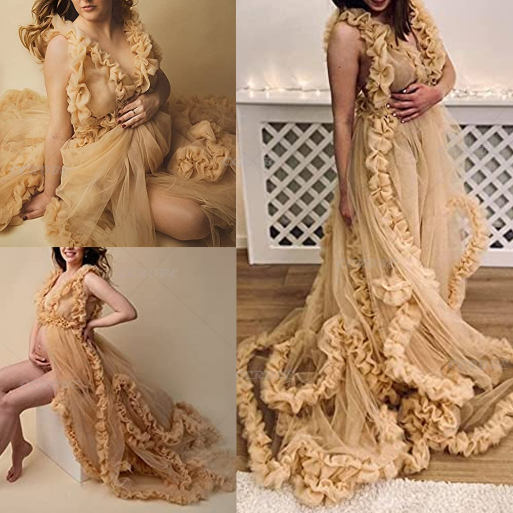 Women's Dressing Gown Perspective Sheer Long Tulle Robe Sexy V-neck Wedding Bridal Evening Dress Pregnancy Photoshoot Dress