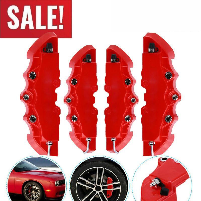 Brake Rear Wheel 4PCS 3D Red Car Universal Disc Brake Caliper Covers Front & Rear Accessories Set Au