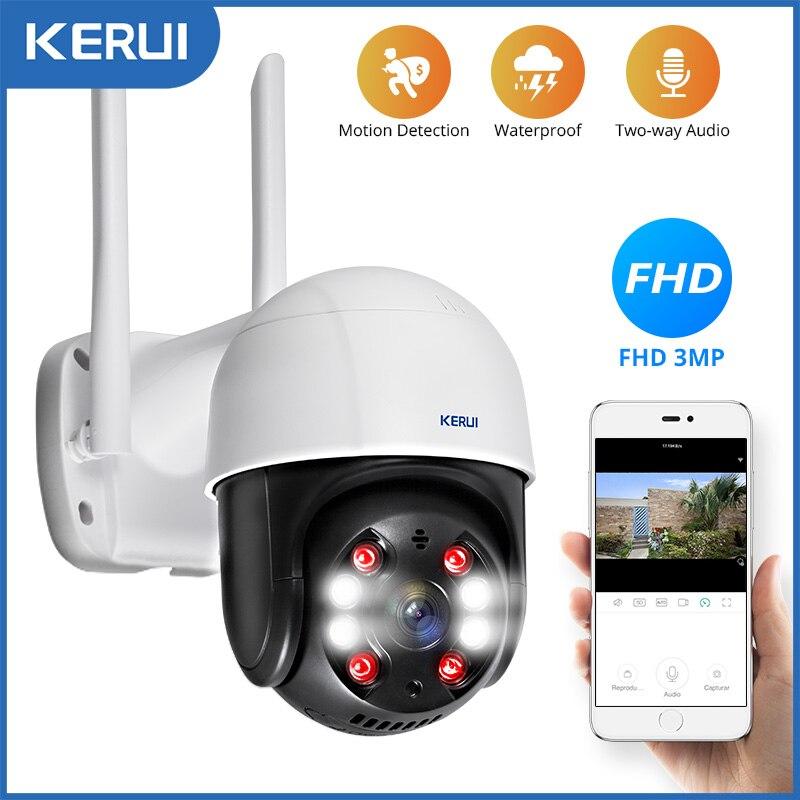 KERUI наружная Водонепроницаемая беспроводная 3MP WiFi ip-камера купольная 4X PTZ цифровая зум ИК камера Домашняя безопасность CCTV видеонаблюдение