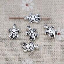 JAKONGO-perles antiques en plaqué argent, tortue Vintage, ample, pour la fabrication de bijoux, Bracelet, bricolage fait à la main, 13x9mm, 20 pièces