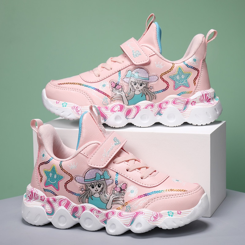 Children's Autumn Fashion Comfortable Breathable Sneakers Girls Non-slip Light Soft Princess Girls S