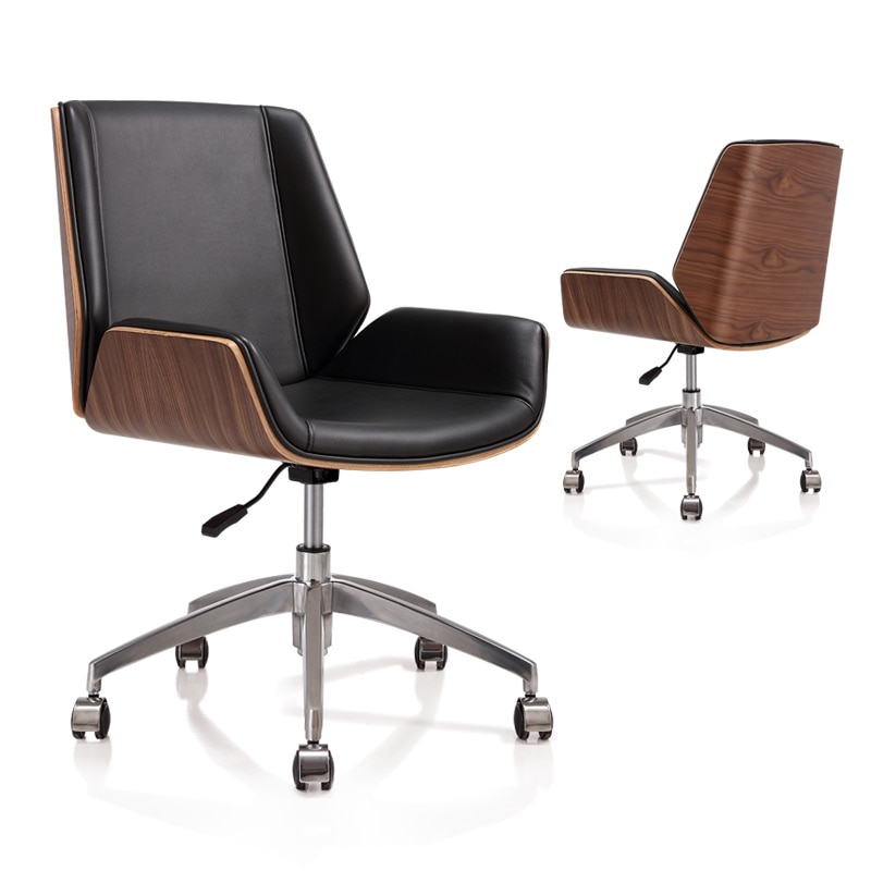 homall ribbed office chair mid back pu leather executive conference desk chair adjustable swivel chair with comfortable arms Mid-Back Bentwood Swivel Office Computer Chair PU Leather Office Furniture For Home,Conference Mid Century Adjustable Armchair
