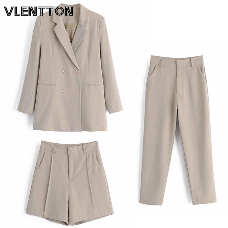 Conjunto de 2 piezas de color caqui clásico para mujer de primavera y otoño del 2020, Blazer de oficina OL, chaqueta, abrigo + pantalón de tubo, trajes de pantalón informal para mujer