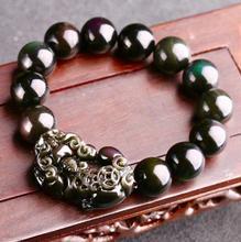Jewelry Free Shipping  12MM Natural Black Obsidian Rainbow Gemstone pixiu Round Beads Stretch Bracelet