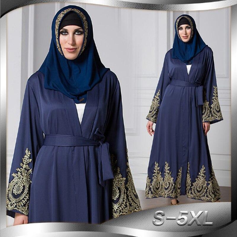 Muslim Abaya Lace Maxi Dress Embroidery Cardigan Kimono Long Robe Gowns Tunic Musulmane Arab Dubai Middle East Islamic Clothing