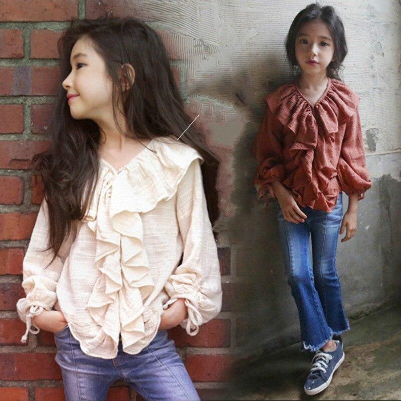 Vestido de niña de Primavera de 2018, cuello de hoja de loto, algodón y lino, camisa de manga larga de muñeca, camisas de paternidad para niños