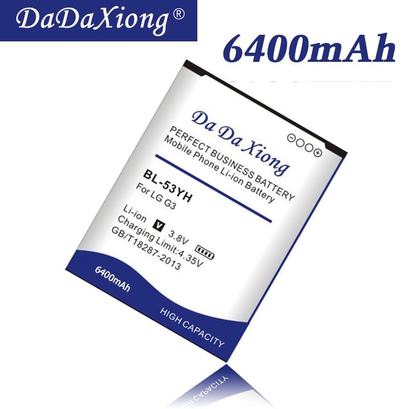 6400mAh BL-53YH BL53YH Battery for LG G3 D858 D855 D857 D859 D850 F400 F460 F470 F400L D830 D851 VS985 BL 53YH Phone Battery