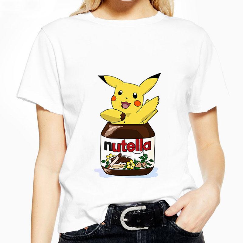 Fashion T-shirt Kawaii Nutella Print T Shirt Women 90s Harajuku Graphic Cartoon Tshirt Korean Style Streetwear Female Aesthetic