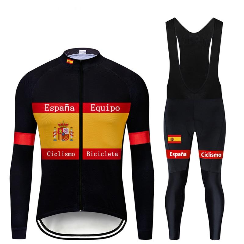 2020 Moxilyn Brand Mens Team Spain Cycling Clothing Top Quality Autumn Cycling Jersey Set MTB Bike Bicycle Clothing