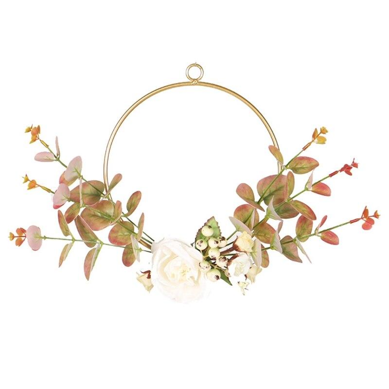 Guirnalda de eucalipto de hierro forjado de otoño, Color flor para colgar en pared decorativo redondo, simulación corona, guirnalda de eucalipto