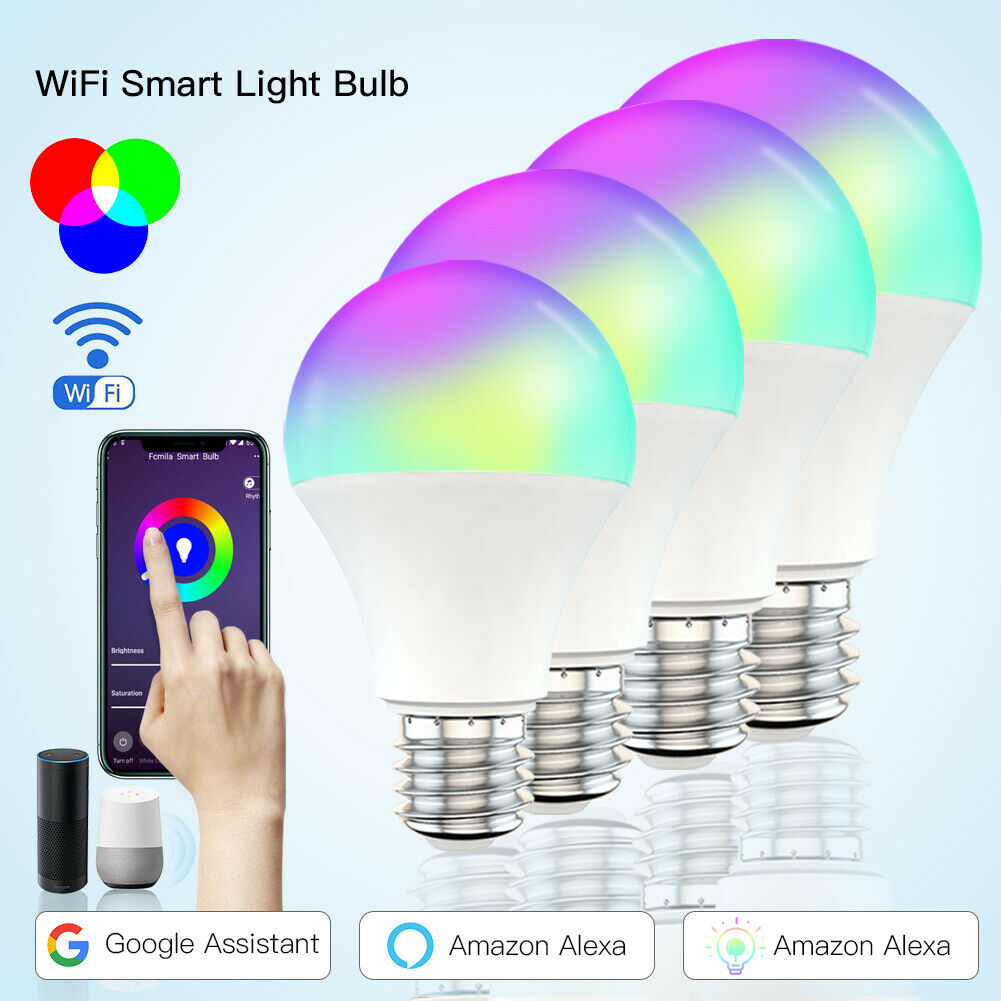 Color Changing LED Light Bulb Smart WiFi Light Bulbs Dimmable RGBCW 2700K-6500K  Equivalent Led Light Bulb Works with Alexa
