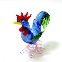 Figuritas artesanales de gallo de cristal de Murano coloridas en miniatura, bonitos adornos hechos a mano para el hogar de animales, regalos de Año Nuevo