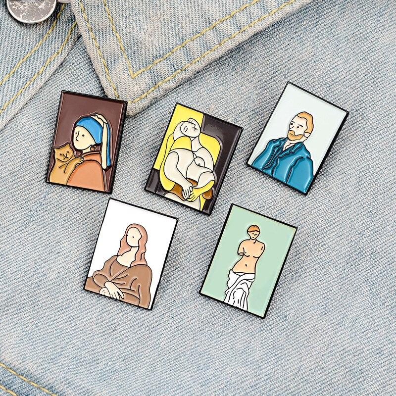 Oil painting enamel brooch Picasso Van Gogh Mona Lisa Venus art pin badge backpack decoration