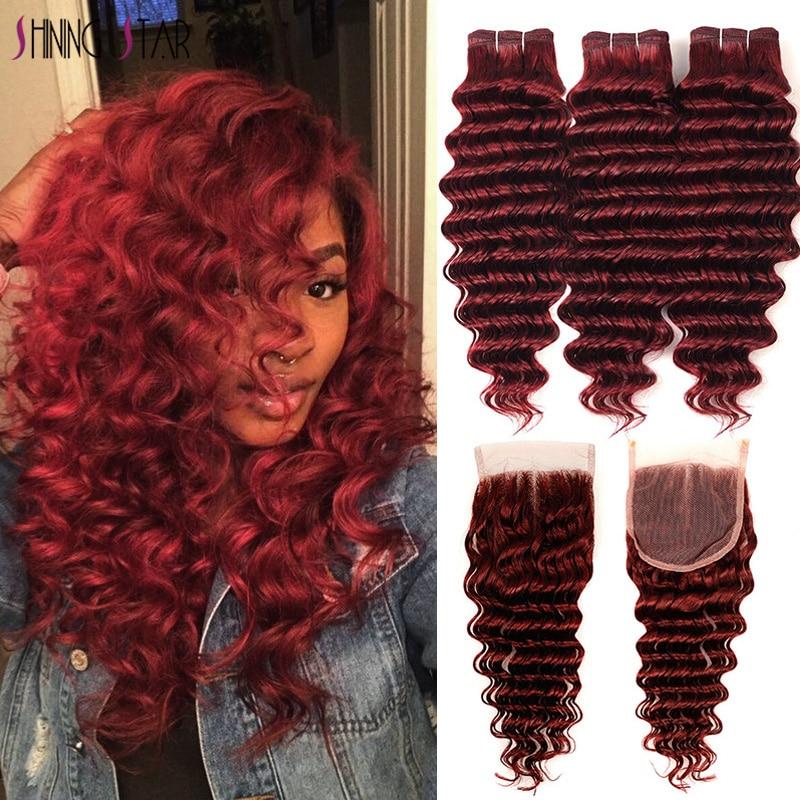 مجموعة من 3 خصلات شعر ريمي برازيلية مموجة عميقة ، أحمر جريء 99j ، بورجوندي ، مع إغلاق ، نجمة لامعة