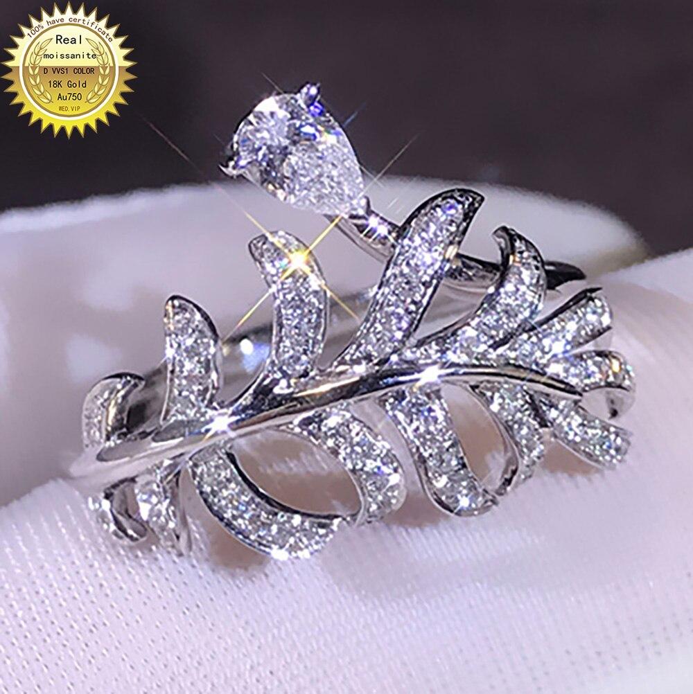 18K Au750 الذهب الأبيض المرأة خاتم الخطوبة لحفلات الزفاف الكمثرى مويسانيتي خاتم الماس الكلاسيكية العصرية الأنيقة
