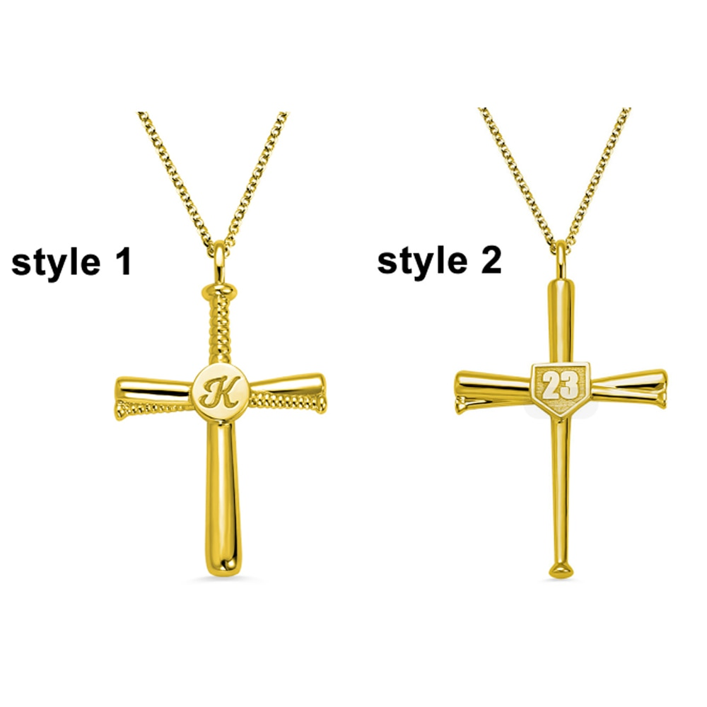Collar de Cruz de béisbol grabado personalizado con número inicial, collar de Cruz de fe cristiana personalizado Sweey Dropshipping