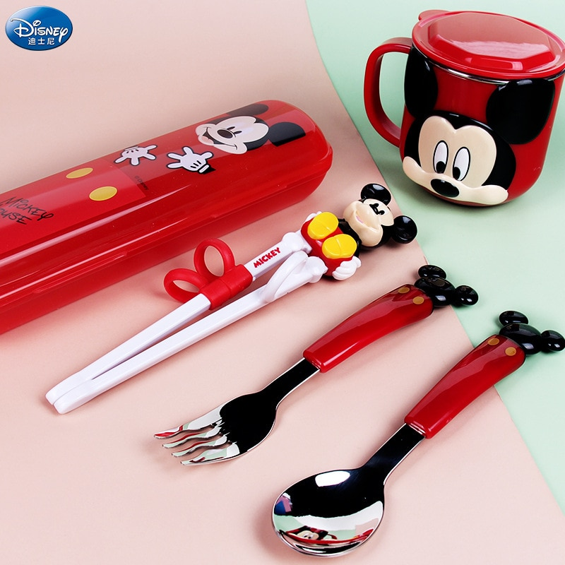 Original Disney Children's Cutlery Set Portable Learning Chopsticks Cup Fork Spoon 5 Piece Set Cartoon Infant Home Baby