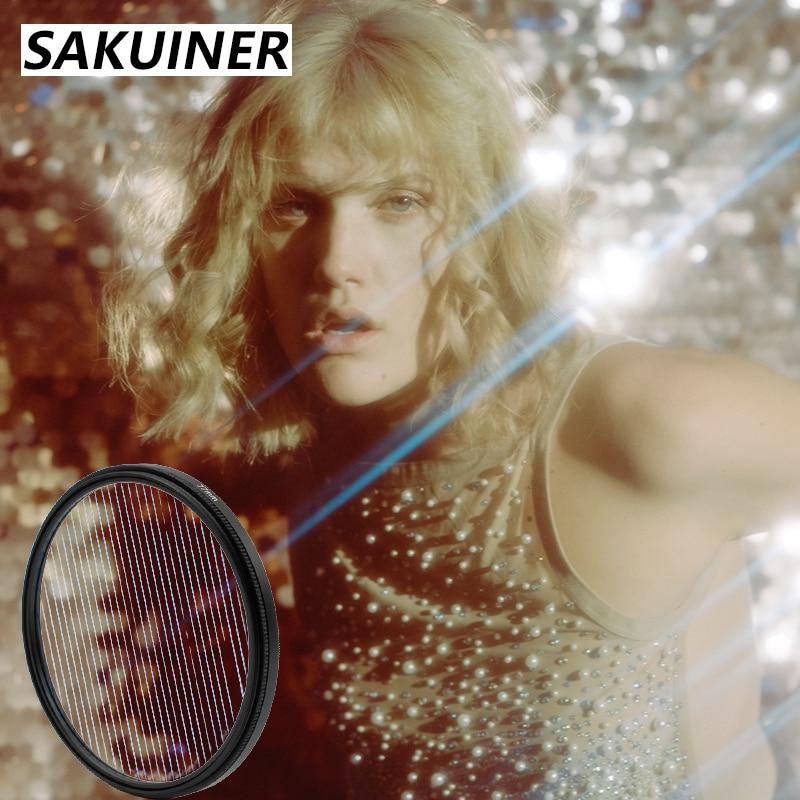 SAKUINER كاميرا ستار مضيئة تصفية التصوير اكسسوارات Nd UV متعددة الزجاج المنشور 58 62 67 72 77 82 مللي متر لكانون نيكون سوني