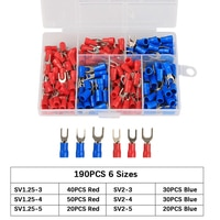 190Pcs U-style Crimp Terminal Spade Fork Connector Kit  Wire Copper Crimp Connector Insulated Cord Pin End Terminal Assorted kit