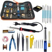 Kit de fer à souder électronique 30W 40W 60W EU US 220V 110V fer à souder kit doutils y compris sac à main fil de soudure étain brucelles