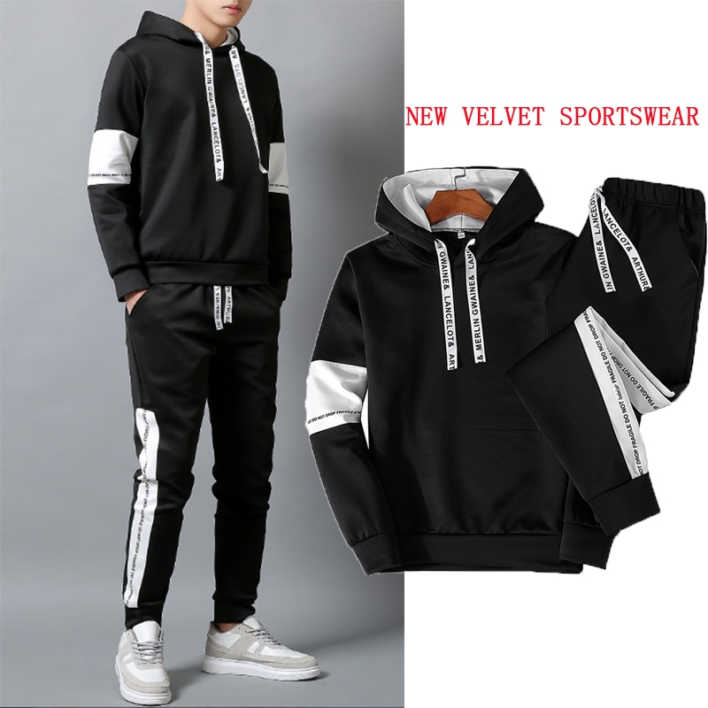 Novo casual terno esportivo masculino 2020 moda jogging hoodie + calças de pista primavera e outono de duas peças treino masculino