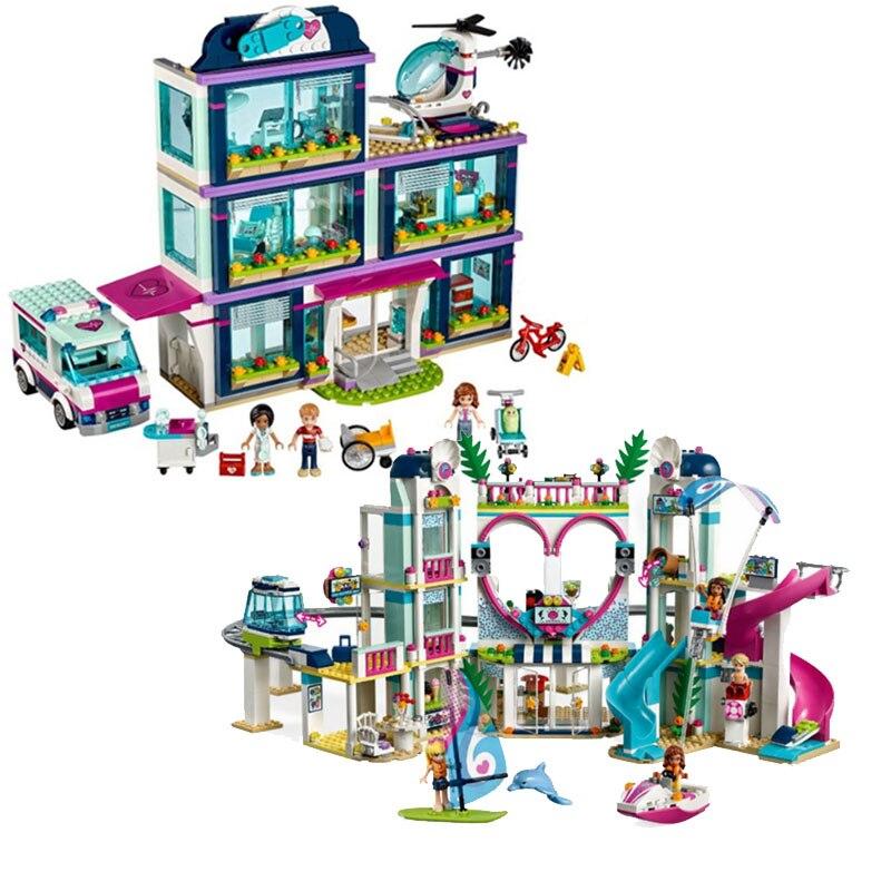 1039pcs Girl Friends Series Heartlake City and Hospital 41318 41347 Model Building Blocks Toys For Children Gift