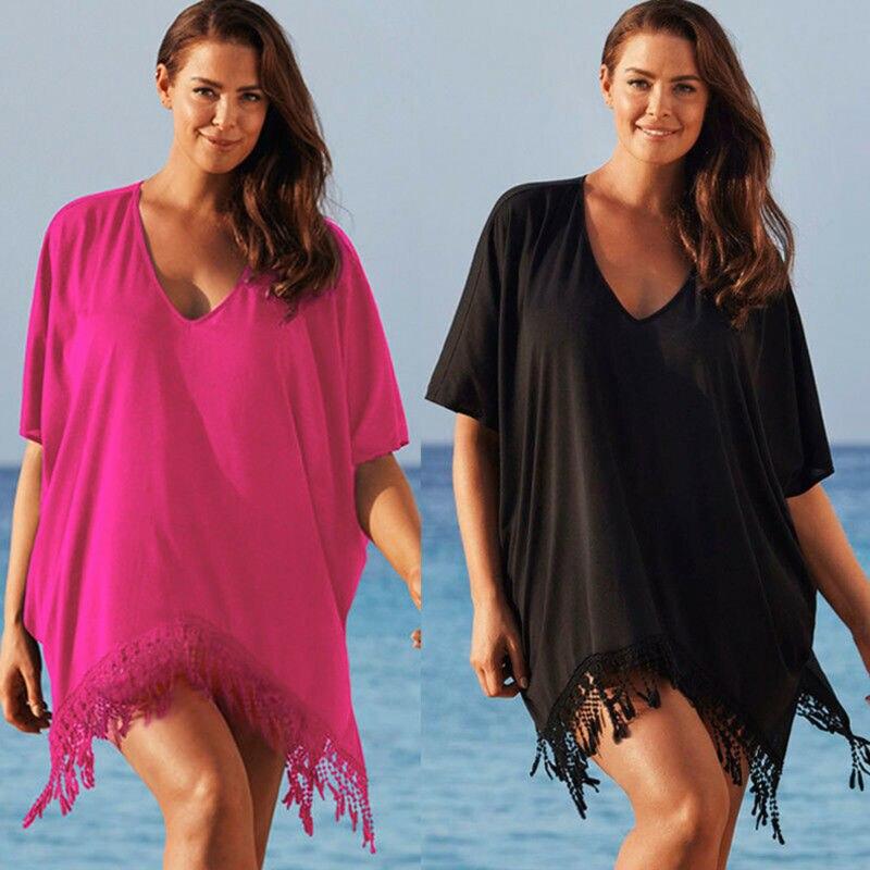 Casual mujeres del Color puro Swimmwears cubierta Ups dama borla bajo cubierta Ups Kaftan Bikini Taseel cubierta de playa, Mini vestido