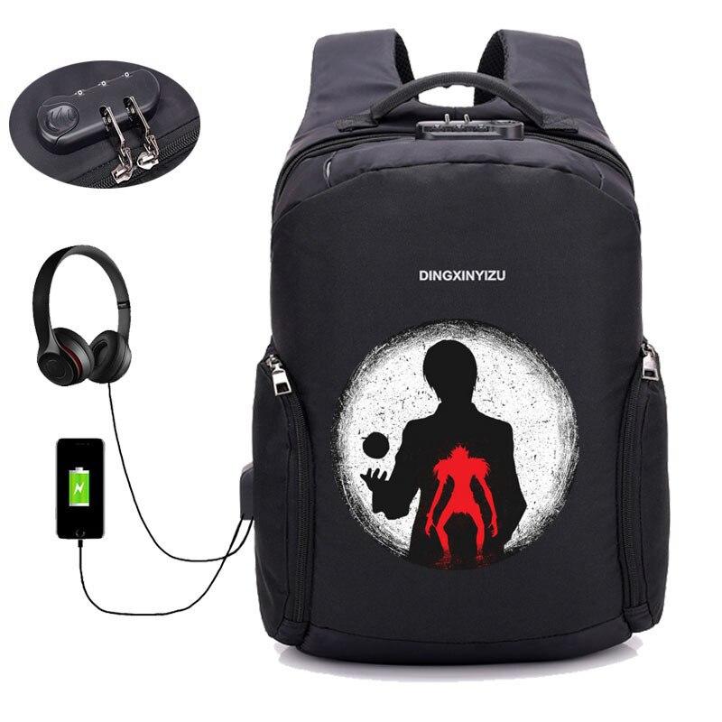 Anime Note de mort sac à dos ordinateur portable étudiant bookbag adolescent mâle USB charge Anti voleur voyage sac à dos hommes femmes paquet