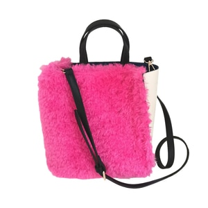 Rose Red & White Faux Fur Tote Bag for Women 2021 Winter Fashion Shoulder Bag Crossbody Bag New Designer Soft Bag Shopping Bag