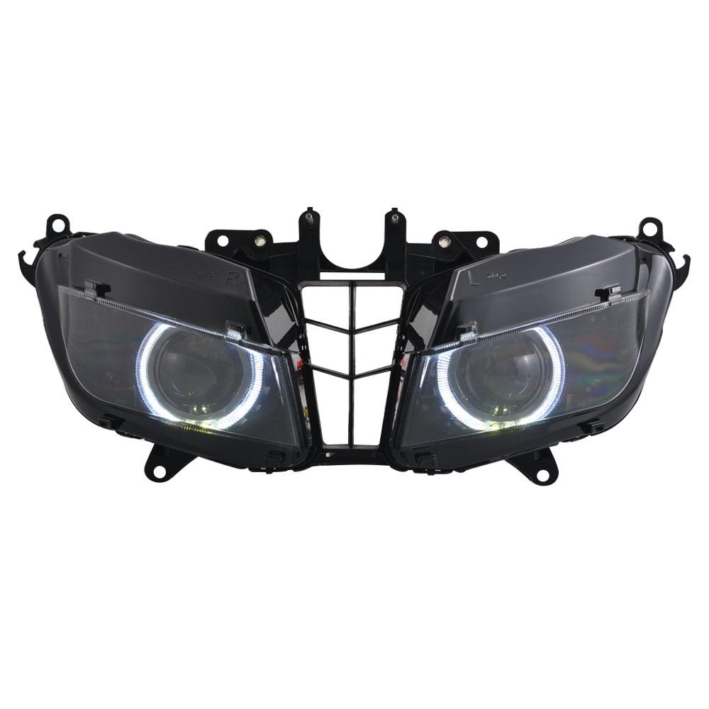 تعديل تجميعها السيارات HID العارض تحويل المصباح لهوندا CBR 600 RR 2013-2018 دراجة نارية الأبيض عيون الملاك كشافات
