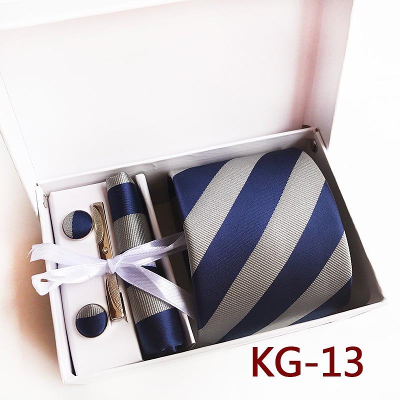 Caja de regalo a la moda para hombre con corbata pañuelo gemelos conjunto con rizador azul marino vino RAYA ROJA corbata pañuelo hombre corbatas de lazo