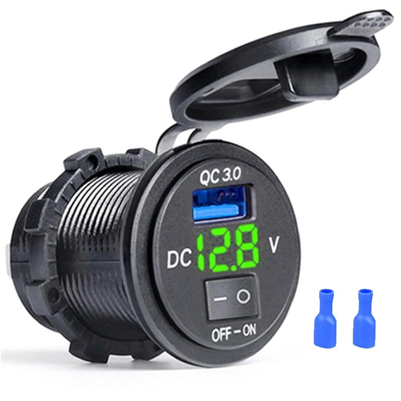 Универсальное автомобильное зарядное устройство 3,0 USB с выключателем ВКЛ./ВЫКЛ. Цифровой дисплей Быстрая зарядка USB Автомобильное зарядное ...