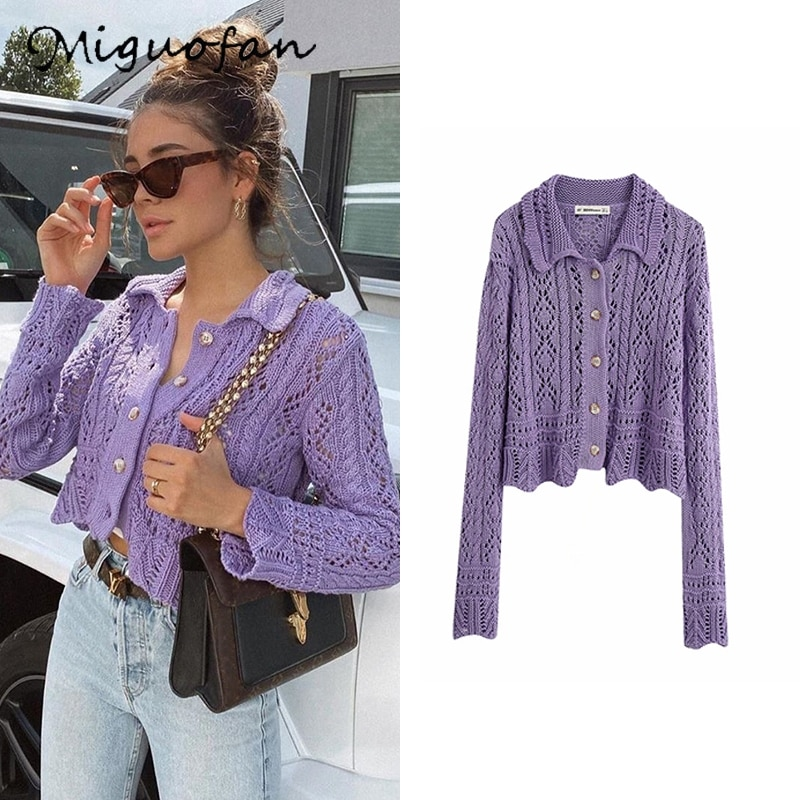 Miguofan sweater women purple solid elegant knitted tops fashion office ladies cardigan femme mache