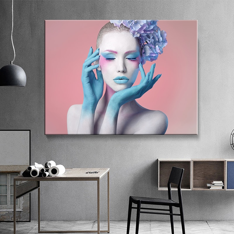 Abstract Makeup Woman Canvas Painting Modern Wall Art Nordic style Poster Decorative Paintings Print