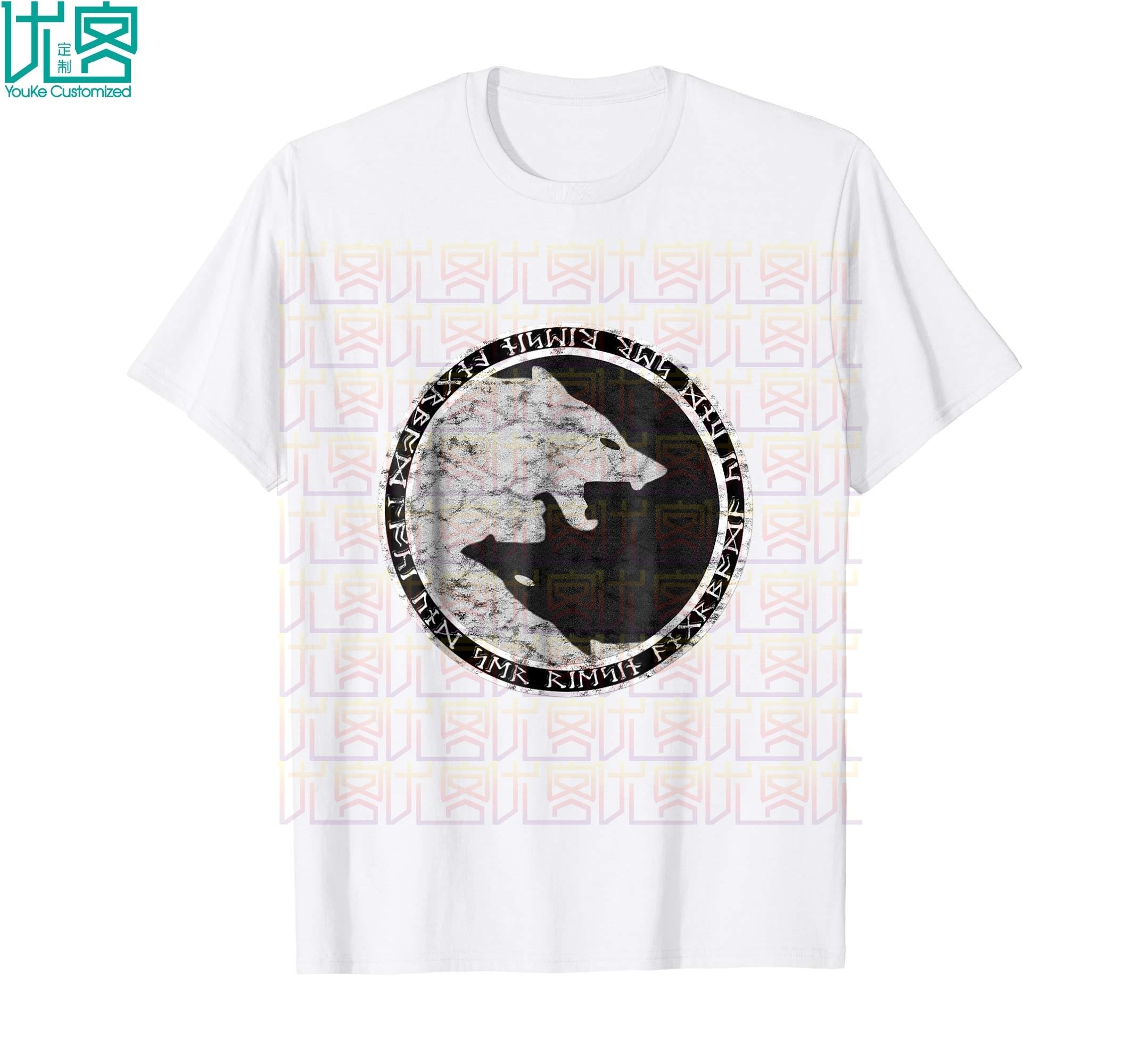 Fenrir, camiseta desgastada con Lobo de Odín y runas nórdicas, camiseta increíble informal de manga corta, Camiseta 100% de algodón