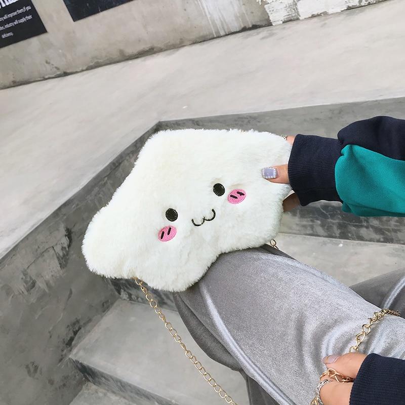 Японская сумка через плечо с милыми сердечками, плюшевая сумка через плечо для девушек, Студенческая мягкая сумка на плечо, мобильный телеф...