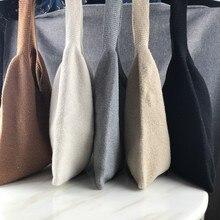 Bolso de lana tejido a mano, 9 colores, suave, portátil, de lana para mujer, suéter abierto, bolsa Harajuku 2020, bolsos de moda coreanos, bolso mensajero