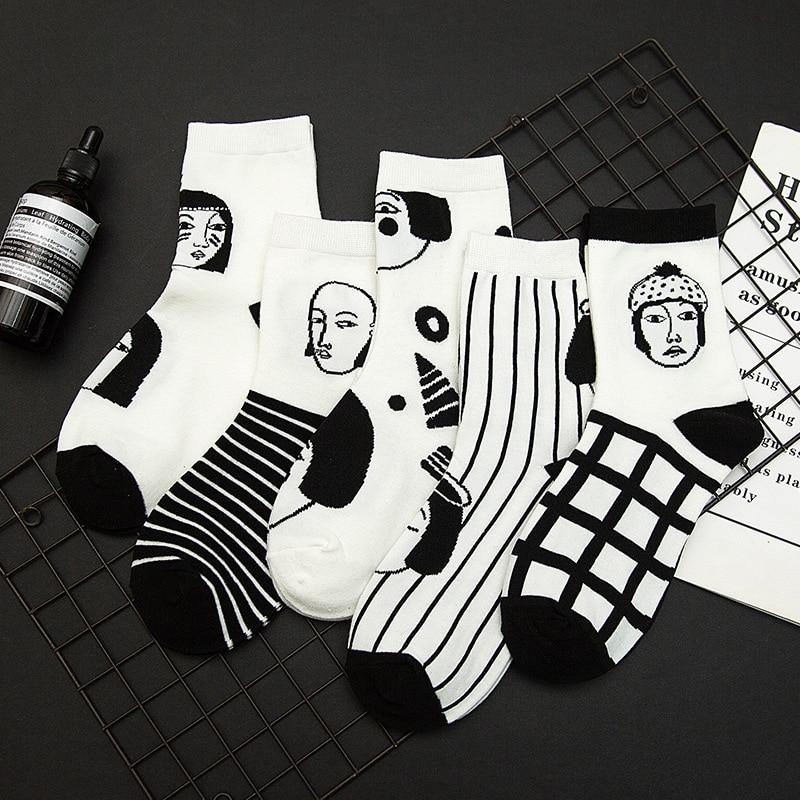 Autumn and Winter Cartoon Stripes Women Socks Cotton Animation Black and White Series Korean Funny Socks for Ladies 417