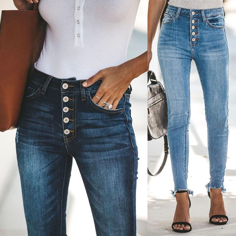 Женские джинсы с высокой талией, женские брюки на пуговицах, обтягивающие эластичные джинсы стрейч размера плюс, синие узкие брюки-карандаш...
