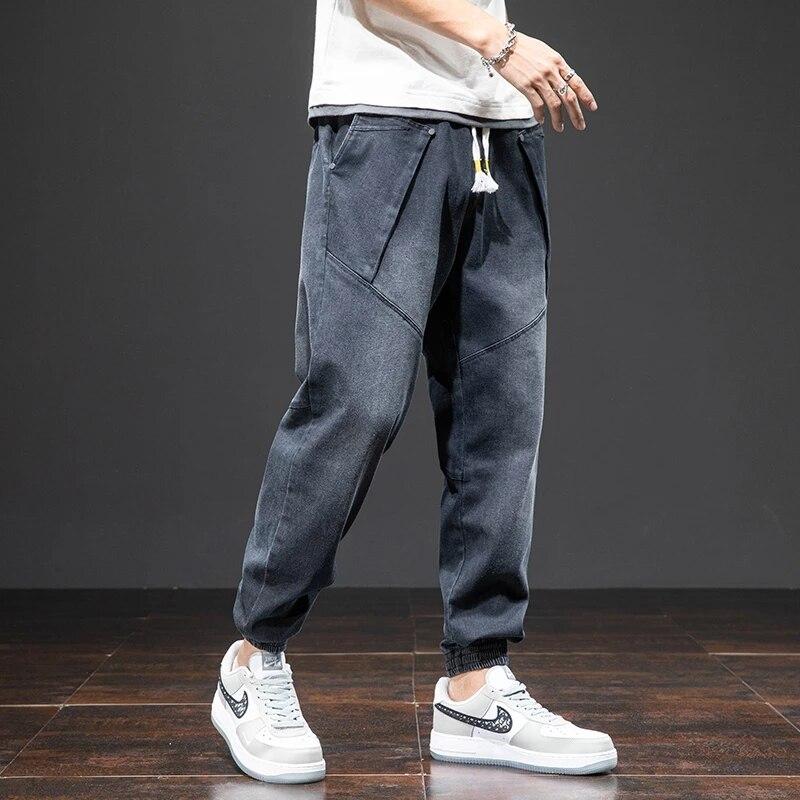 Женские демисезонные джинсы-шаровары, мужские джинсовые брюки-карго, уличные черные джоггеры, мужские повседневные мешковатые джинсы, брюк...