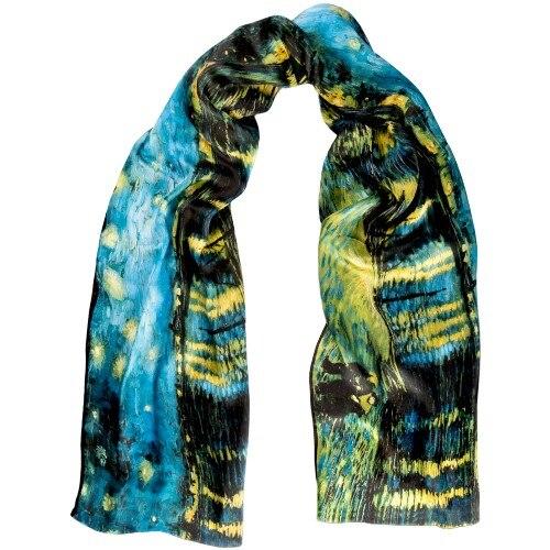وشاح من الحرير البورسا 100% ، حجاب باللون الأسود والأزرق ، صنع في تركيا ، فان جوخ ، ألوان نابضة بالحياة ، 165 × 45 سم