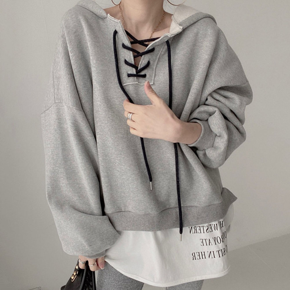 drawstring queen print hoodie Hoodie Women Autumn New Loose Long Sleeve Hooded Drawstring Pullover Double Layer Patchwork Print Casual Sweet Female Hoodies