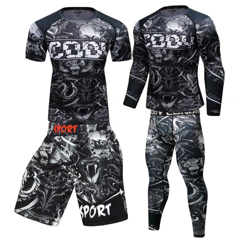 MMA lycra Jiu Jitsu T camisas de Fitness para hombres, camisetas de BJJ Kickboxing, Muay Thai pantalones cortos de gimnasio erupción pantalones Sportsuit