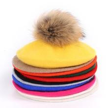 Woman Artists Cap Sweet Feathers Hair Ball Wool Berry Wool Cap hat