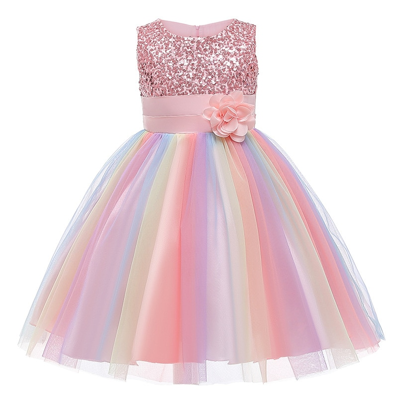 LZH Flower Girls Wedding Dress Kids Dresses For Girls Elegant Princess Party Dress Children Easter Carnival Costume 8 9 10 Year